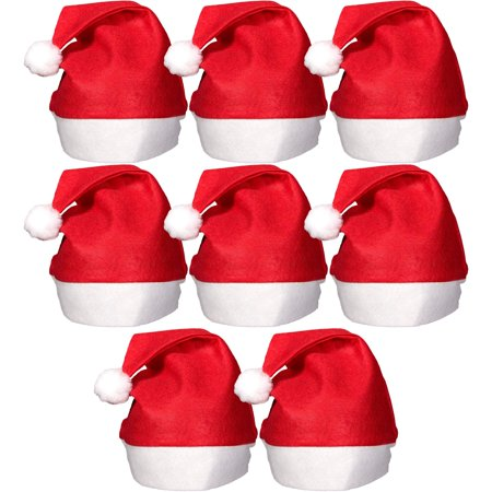 Red Party Hat (Felt Large Holiday Christmas Red Santa Hat With Plush Cuff (8)