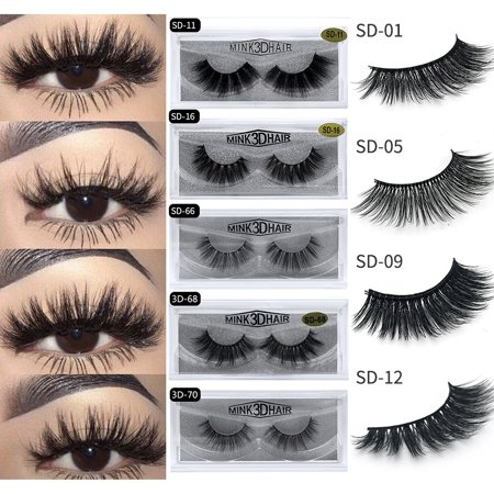4Pcs/2Pairs Natural Soft False Eyelashes Fake Lashes Long 3d Mink Eye Makeup Tools