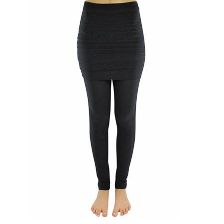 Solid Black Stretchy Leggings With Pleated Skirt - Skirts Leggings