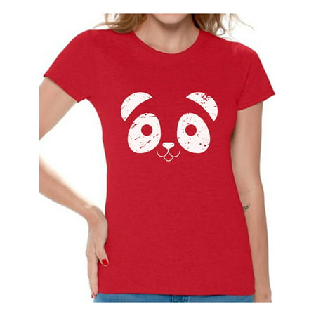 Awkward Styles Panda Face Shirt Panda Bear Valentine's Day T Shirt for Women Cute Panda Face Women's Tshirt Valentine Shirt Panda Bear Valentines Day Gift Idea for Her Valentine Shirts for Women