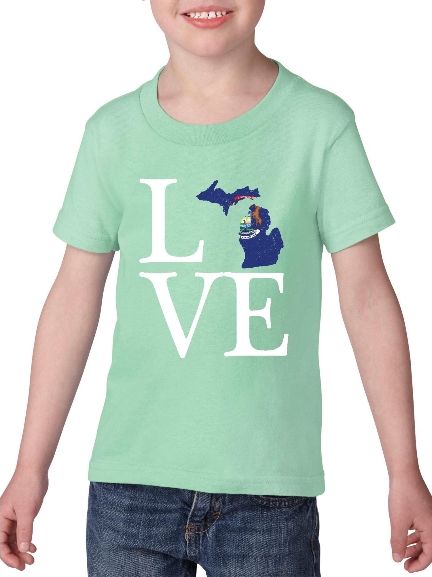 Love Michigan Heavy Cotton Toddler Kids T-Shirt Tee Clothing