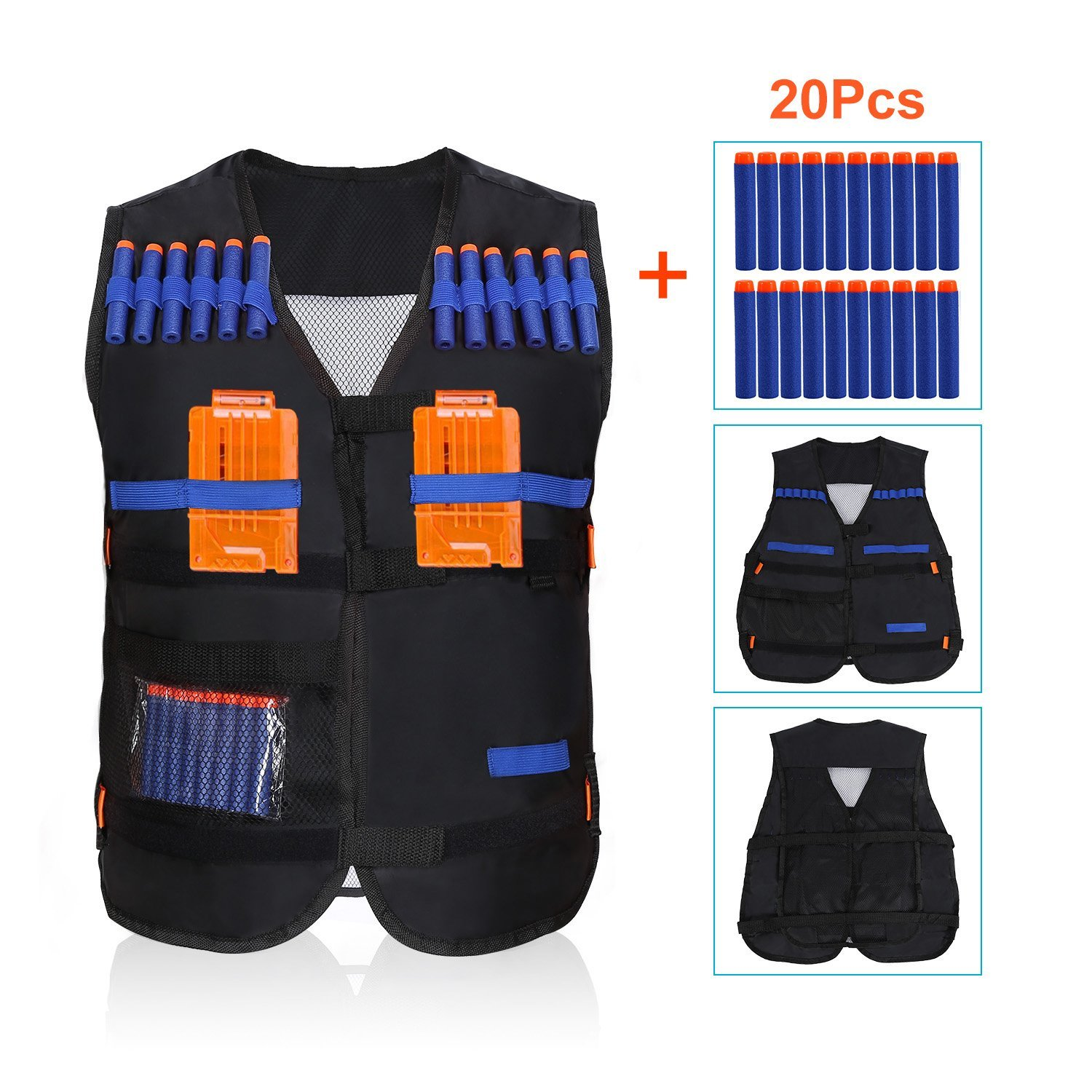 Yosoo Kids Elite Tactical Vest with 20 Pcs Soft Foam Darts for N-strike Elite Series(Not Including 2 Clips)
