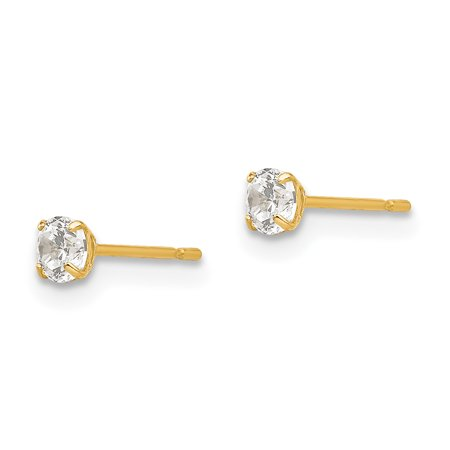 14K Yellow Gold 3mm Round CZ Post Earrings - image 1 of 2