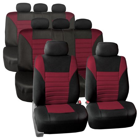 Burgundy 3 Seat - 3 Row 8 Seaters SUV Seat Covers for Auto 3D Mesh Burgundy Black Full 3 Row Covers Set For SUV Van