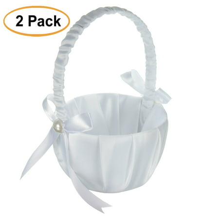 2Pcs White Satin Bow-knot Beaded Flower Girl Basket Decor for Wedding Ceremony Party Ornament - Wedding Ceremony Decor