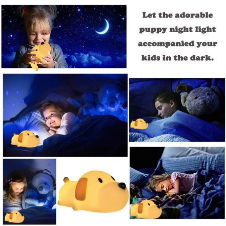 LED Night Light for Kids, Silicone Puppy LED Lamp with Sensitive Touch Control, Baby Nursery Lamp with Warm/Cool White Dual Modes - USB Rechargeable, Brightness Adjustable, Timing Function - image 2 de 6