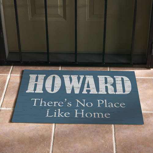 "Personalized ""No Place Like Home"" Doormat, Blue, 17"" x 27"""
