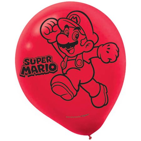 Super Mario Brothers Party Supplies 12 Latex Balloons - Mario Brothers Birthday Party Supplies
