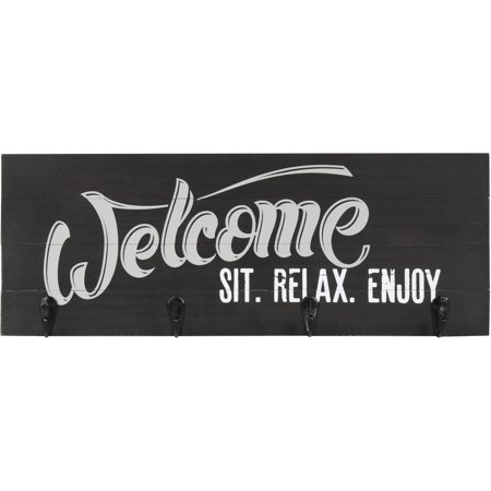 Better Homes And Gardens Welcome  Sit  Relax  Enjoy Wood Plaque With 4 Key Hooks