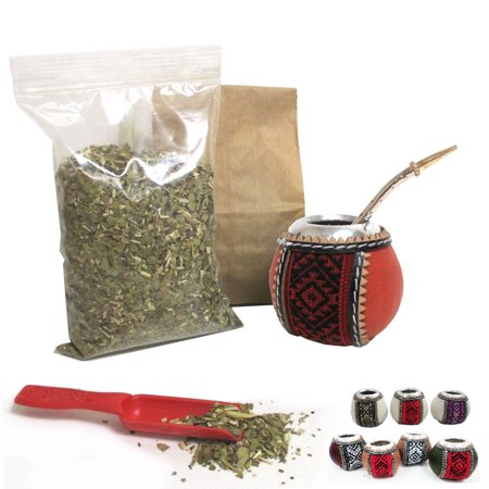 Neck Cup Kit - 4Pc Yerba Mate Gourd Kit Argentina Tea Cup Straw Bombilla 6oz Leaf Bag Pack 6877
