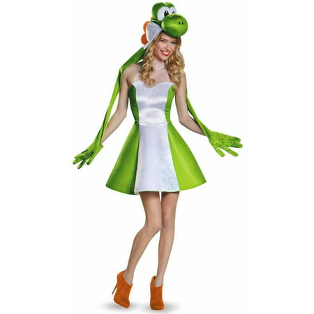 Super Mario Bros Yoshi Female Women's Adult Halloween Costume](Riding Yoshi Costume)