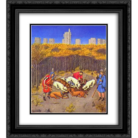 Wild Boar Hunting (Limbourg brothers 2x Matted 20x22 Black Ornate Framed Art Print 'Fascimile of December Hunting Wild Boar' )