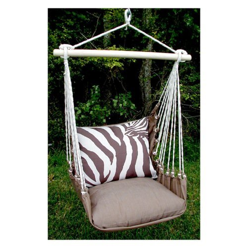 Magnolia Casual Zebra Print Hammock Chair and Pillow Set