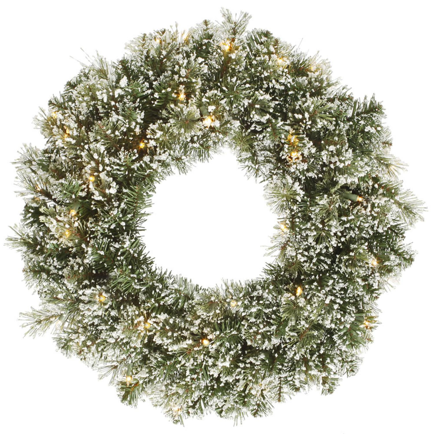 "24"" Pre-lit Frosted Cashmere Pine Artificial Christmas Wreath - Warm Clear LED Lights"