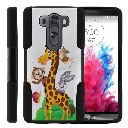 - LG V10 and LG G4 Pro STRIKE IMPACT Dual Layer Shock Absorbing Case with Built-In Kickstand - Cartoon Giraffe