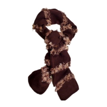 Fownes Womens Brown Scarf with Tan Feather Yarn Fringe