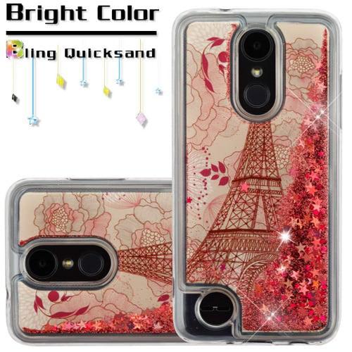 For LG Aristo 2 / LG Zone 4 (2018) / LG Tribute Dynasty / LG K8 (2018) / LG Fortune 2 Case Hybrid Quicksand Liquid Glitter TPU Phone Cover (Eiffel Tower & Rose Gold Quicksand (Stars) Glitter)