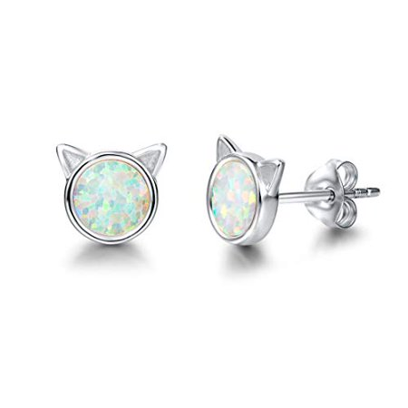 FANCIME 925 Sterling Silver Tiny Dot Cat White Created Opal Stud Earrings Round Disc Minimalist Jewelry for Women (Children's Birthstone Jewelry)