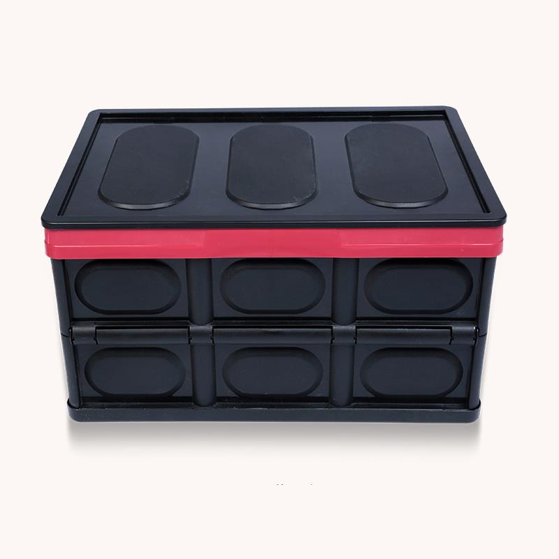 Ktaxon Collapsible Plastic Storage Box Car Trunk Case Box Durable Stackable Folding Utility Crates with Lid Black