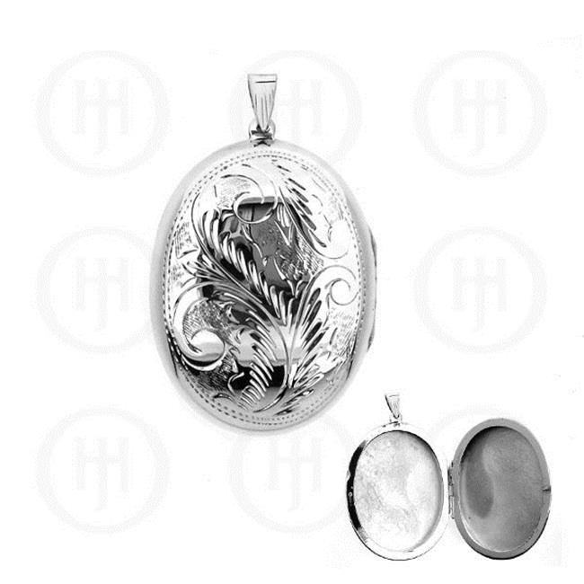 Doma Jewellery MAS06851 Sterling Silver -Engraved Oval Locket Pendant 40mm x 55mm -PL030