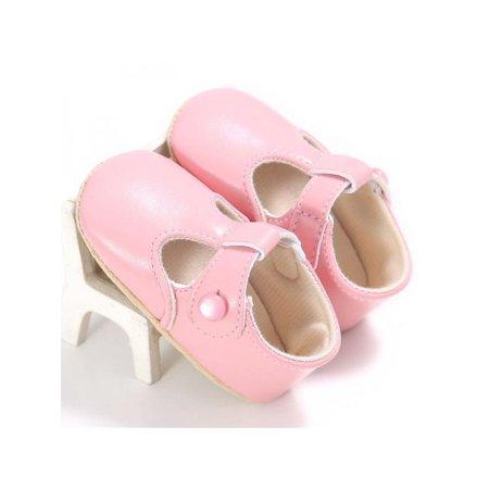 Babula Baby Toddler Girl Solid Color PU Soft Bottom Princess Shoes
