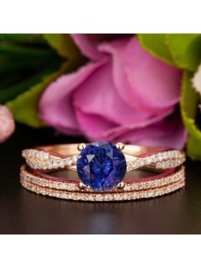 7b84014c62d772 Product Image Beautiful 2 Carat Round Cut Real Sapphire and Diamond Wedding  Trio Ring Set with Engagement Ring. JeenMata