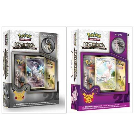 Pokemon Trading Card Game Mew and Arceus Mythical Collection Box Bundle. 1 of Each, including 2 Booster Packs from the Pokemon Generations 20th Anniversary Set and Rare Promo Card](Pokemon Container)