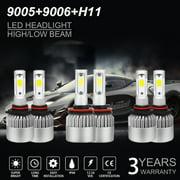 H11+9005+9006 Combo LED Headlight 3900W 585000LM COB Bulb Kit Hi/Lo Beam 6000K