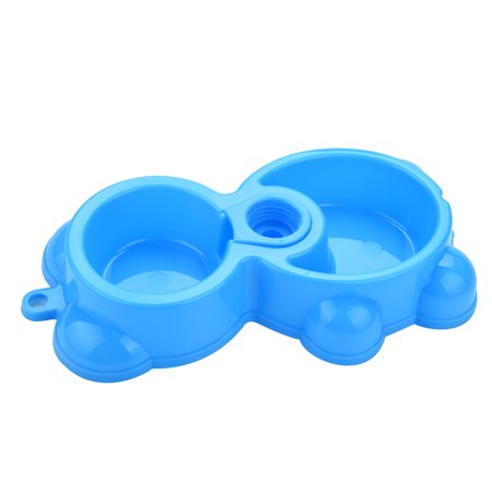 Hot Dog Flavored Water - Dish Water Food Feeder Fountain Bear Double Bowl Hot Puppy Dog Cat Bowl BU