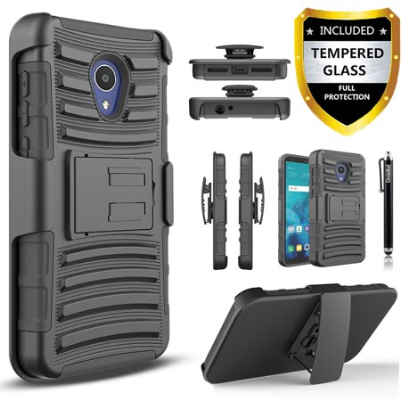 AT&T Axia Case, Dual Layers [Combo Holster] Case And Built-In Kickstand Bundled with[Tempered Glass Screen Protector]And Circlemalls Stylus Pen(Black) (At And T Cell Phone Cases)