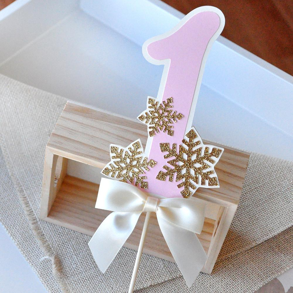 Pink and Gold Birthday Decorations. Handcrafted in 1-3 Business Days. Winter Onederland Cake Topper.