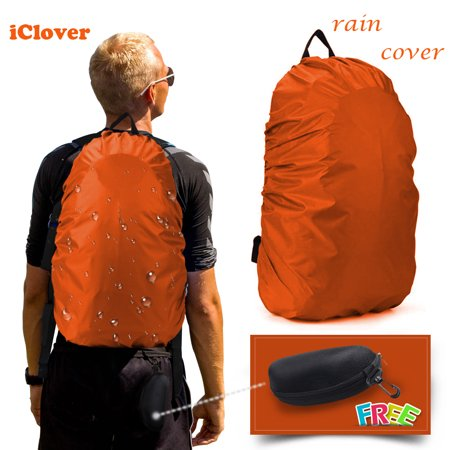 Rain Cover 30L-40L Waterproof Backpack Bag Cover IClover Adjustable Elastic Rucksack Waterproof  Cover (Orange) + Eyeglass Sunglasses Cases Unisex Durable Protective Holder with Zipper