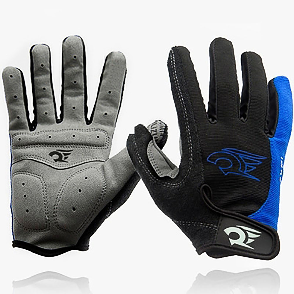 Cycling Gloves Breathable Lycra Full Finger Winter Cycling Gloves Blue by