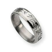 Titanium Wave Design 6mm Brushed Polished Band Ring - Ring Size: 5 to 13