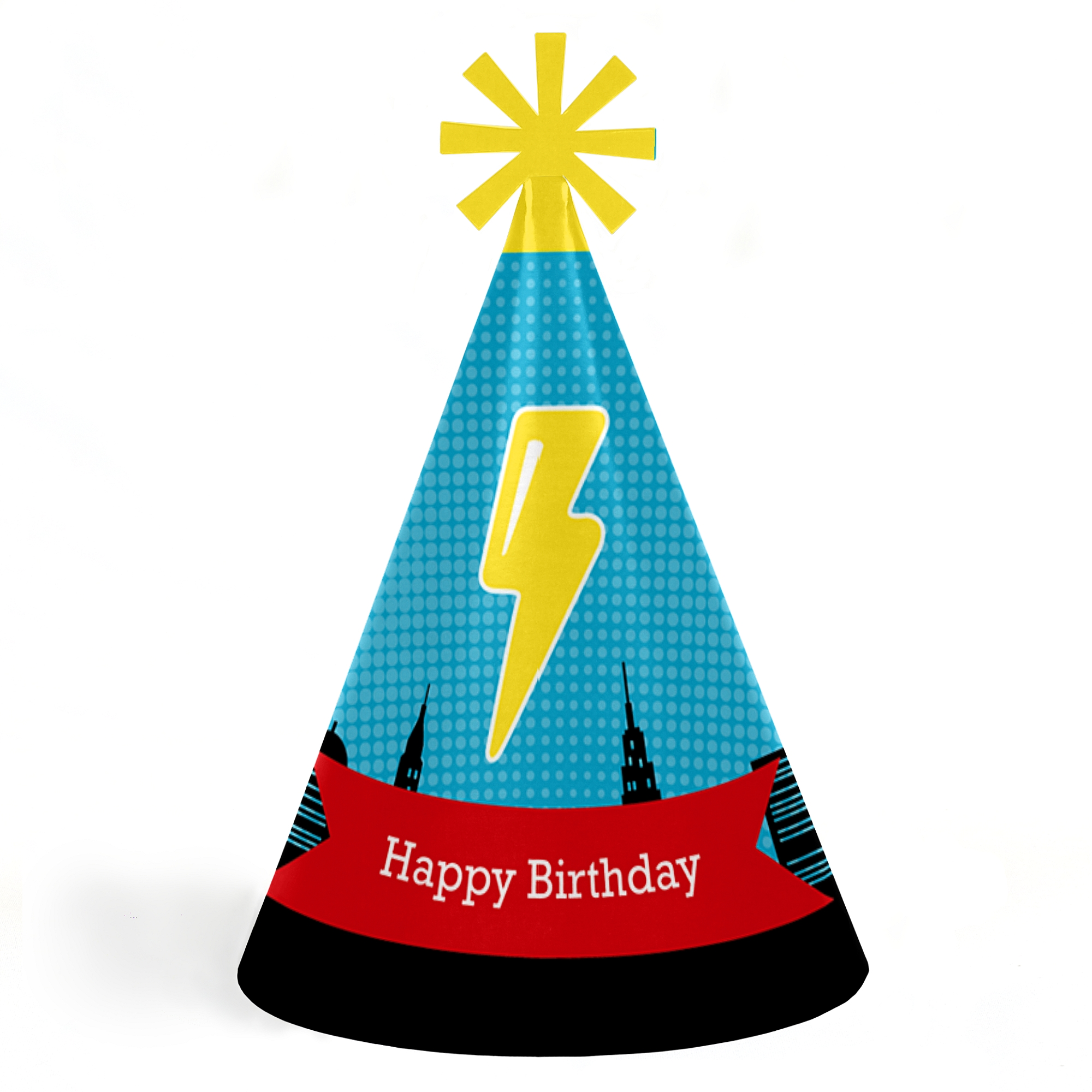 BAM! Superhero - Cone Happy Birthday Party Hats for Kids and Adults - Set of 8 (Standard Size)