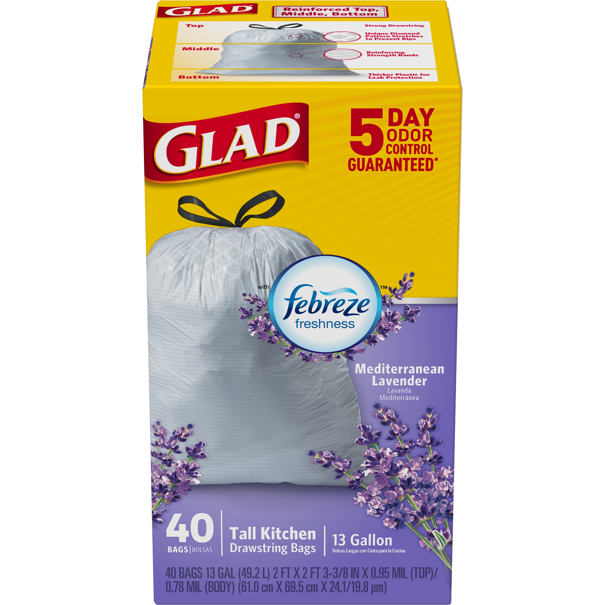 Glad OdorShield Tall Kitchen Drawstring Trash Bags, Mediterranean Lavender, 13 Gallon, 40 Count