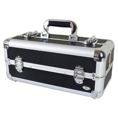 Jacki Design Carrying Aluminum Makeup or Salon Flat Train Case with Expandable Trays