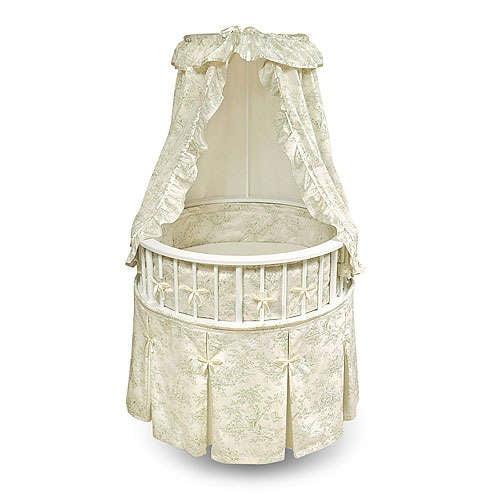 Badger Basket - Elegance Bassinet, White With Sage Toile Bedding