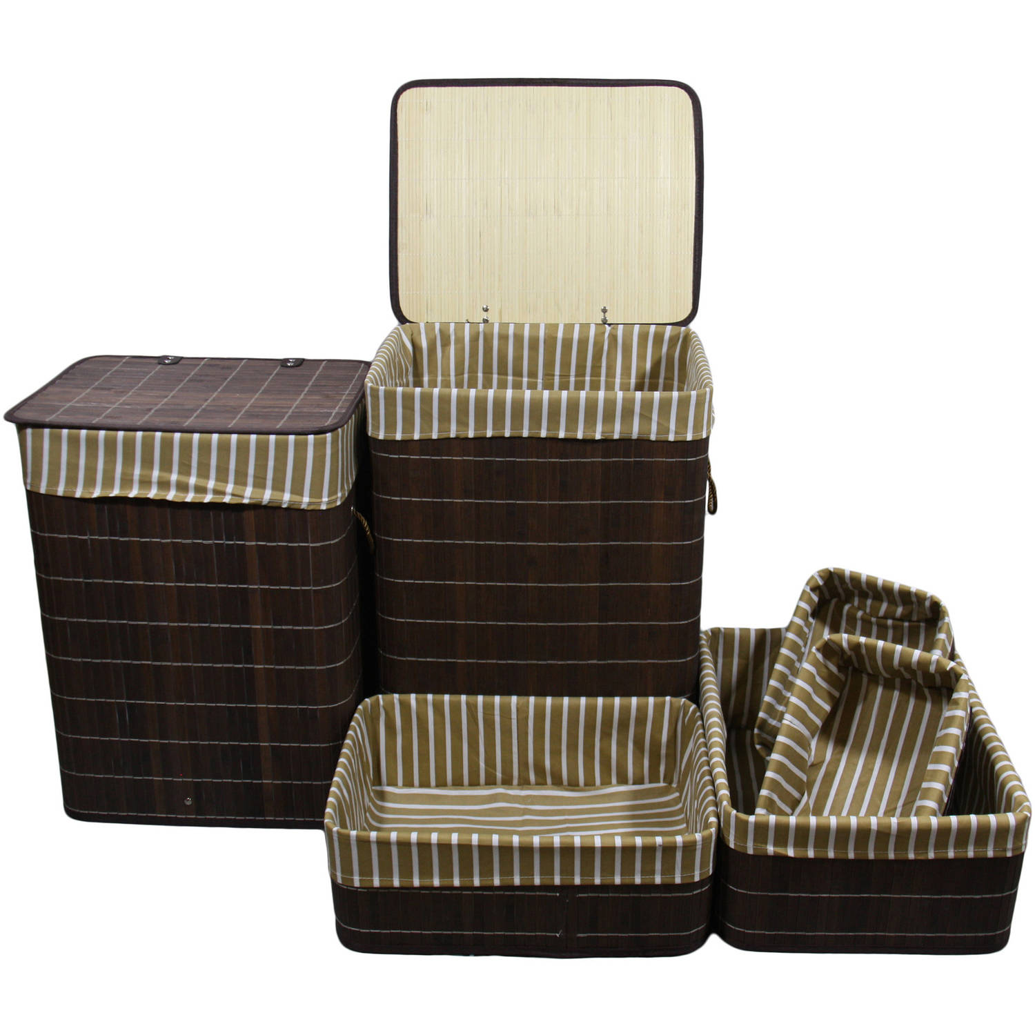 Set of 6pcs Square Folding Bamboo Laundry Basket and Trays