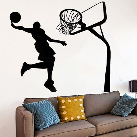 ZAJING 17.7''x28.3''  Removable Basketball Dunk Sport DIY Wall Stickers Kids Room Art Decor Decals - image 1 de 5