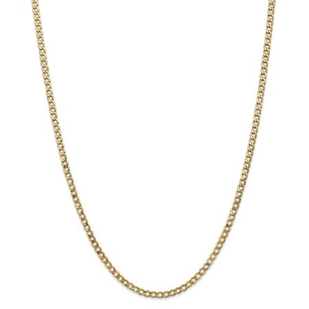 - 14k Yellow Gold 3.35mm Curb Cuban Link Chain Necklace 18 Inch Pendant Charm For Women