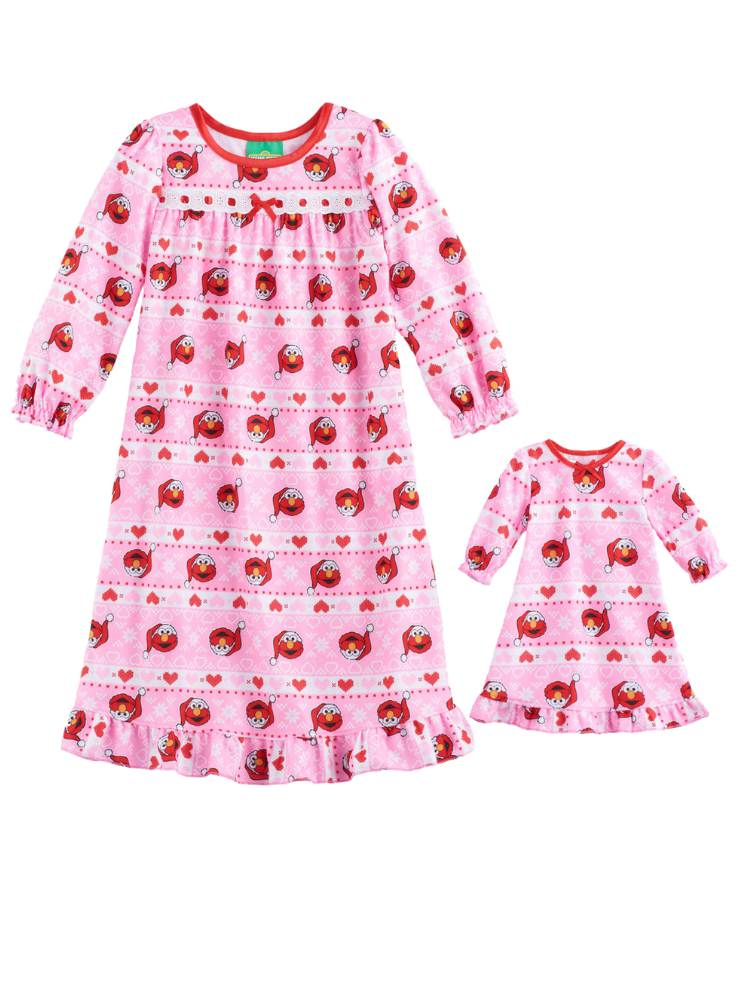 Toddler Girls Pink Flannel Elmo Holiday Nightgown & Doll Night Gown Set