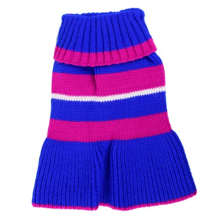 Unique Bargains Pet Dog Yorkie Fuchsia Blue Ribbed Hem Knit Dress Clothes Sweater Size - Blue Pet Sweater