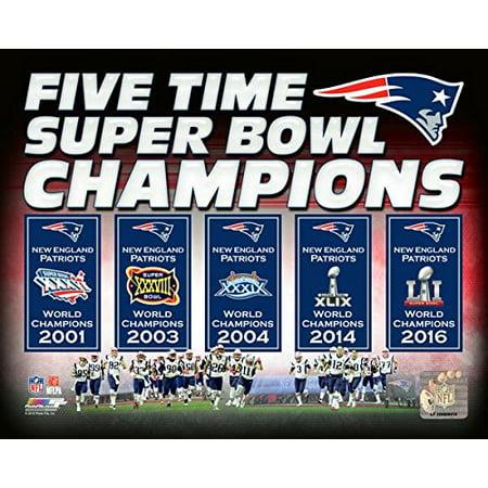 New England Patriots 5 Time Super Bowl Champions Composite Photo  8  X 10