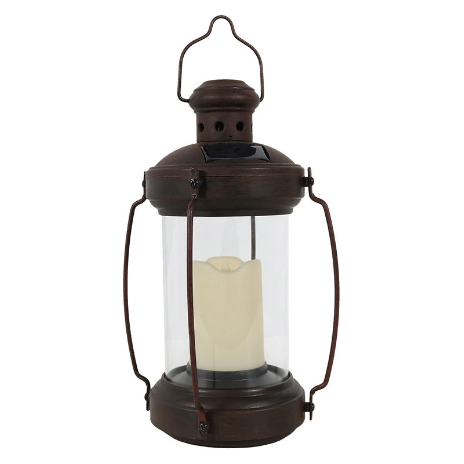 Sunnydaze Decor Solar Antique Hanging Lantern with Candle and LED Light