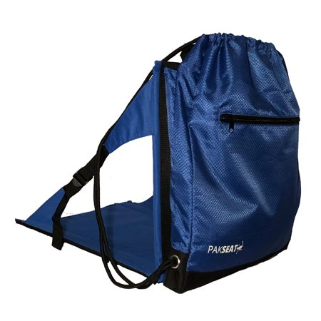 Ostrich PK-9000B PakSeat Padded Folding Stadium Seat Backpack String Bag, Blue