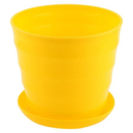 Unique Bargains Home Balcony Garden Plastic Round Plant Planter Flower Pot Yellow 19cm Dia