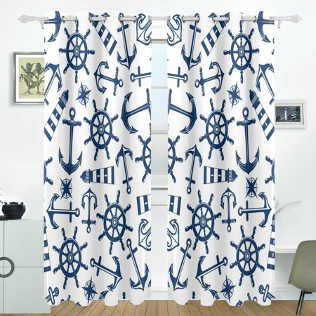POPCreation Marine Nautical Pattern With Blue Items Window Curtain Blackout Curtains Darkening Thermal Blind Curtain for Bedroom Living Room,2 Panel (52Wx84L Inches) ()