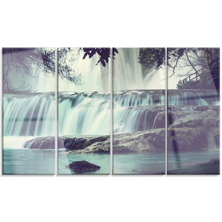 Design Art 'Amazing Waterfall in Mexico' 4 Piece Photographic Print on Metal (Amazing Waterfall)