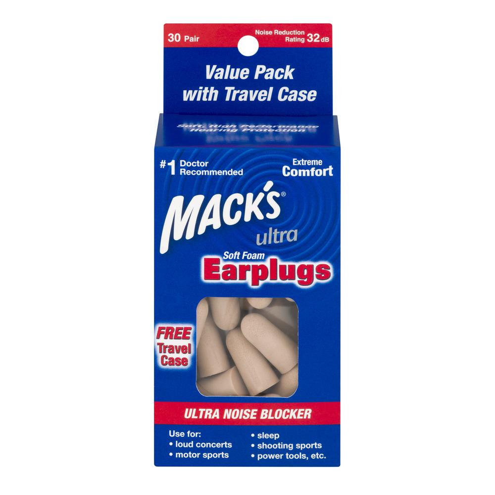 Mack's Safesound Ultra Soft Foam Earplugs, Tan, 30 pr